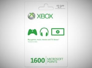 Microsoft xbox live points card